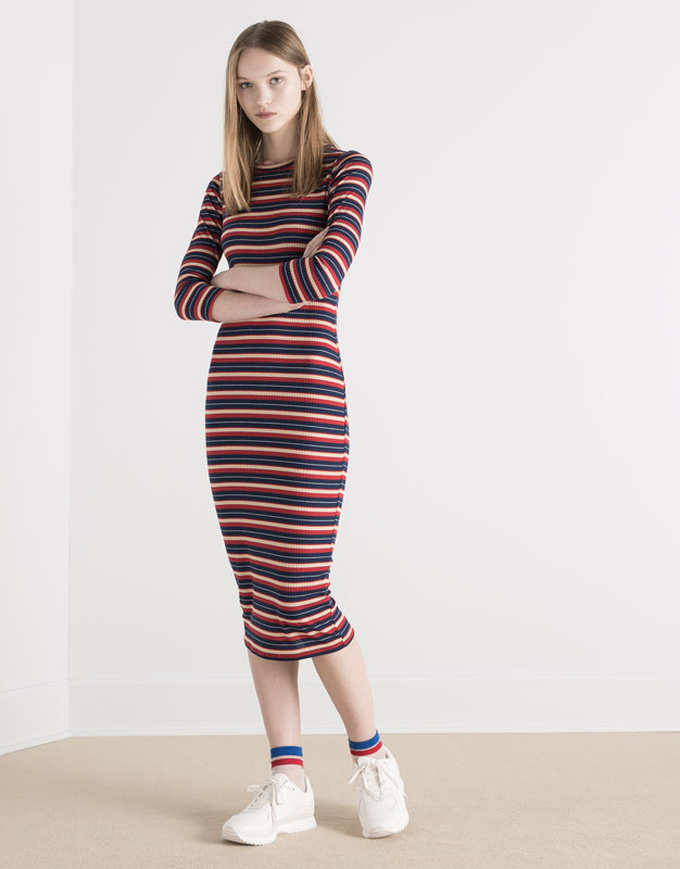 Pull&Bear - woman - new products - mid-length striped dress with 3/4 sleeves - navy - 05390330-V2016