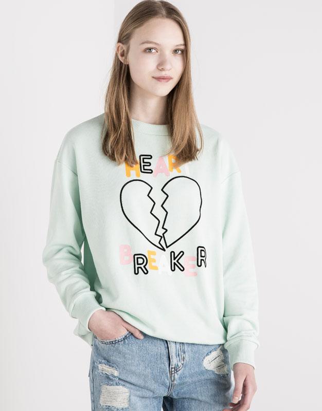 Pull&Bear - woman - #pullvalentines - printed sweatshirt - aquamarine - 05591345-V2016