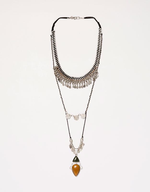 Pull&Bear - mujer - bisutería - collar doble monedas - plat.viej - 05995348-V2016