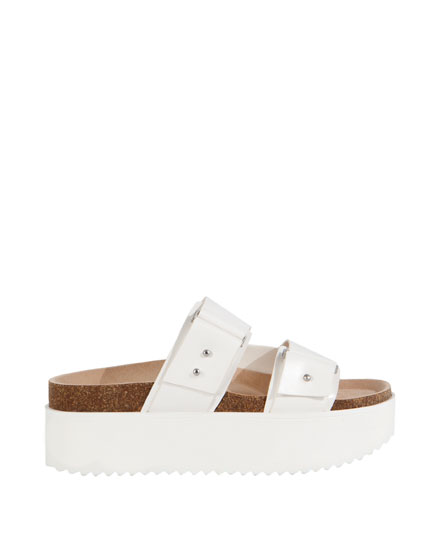 BLOCK SANDALS WITH BUCKLE TRIM