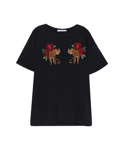 T-shirt with tiger patches