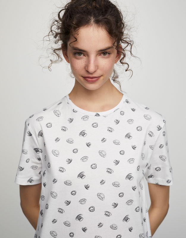 Cup print T-shirt