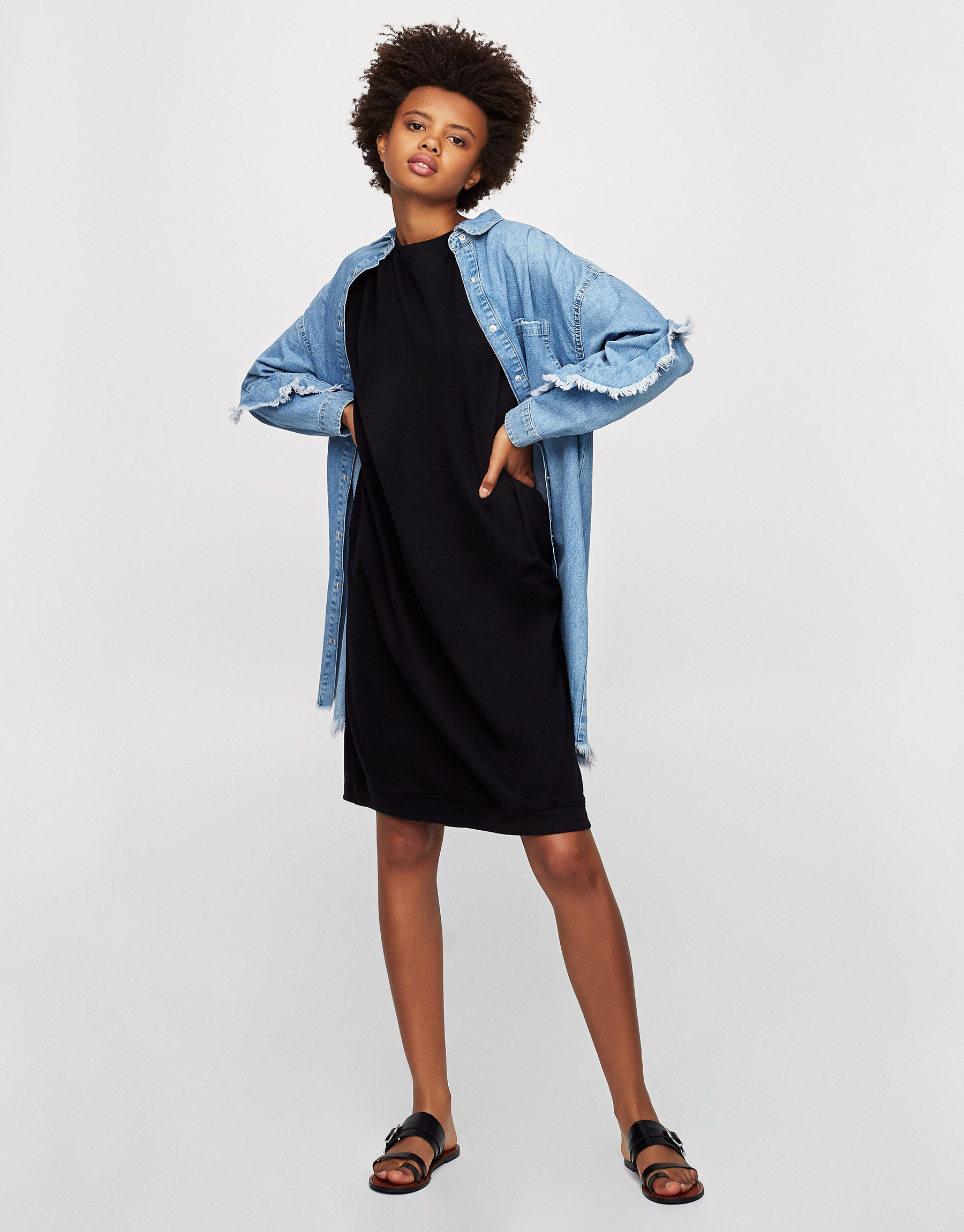 Dress with uneven hem