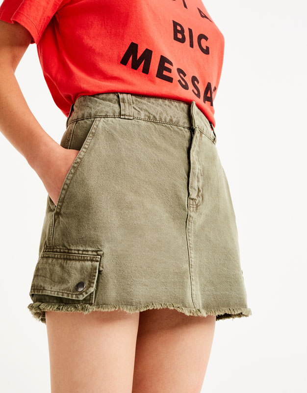 Khaki cargo mini skirt
