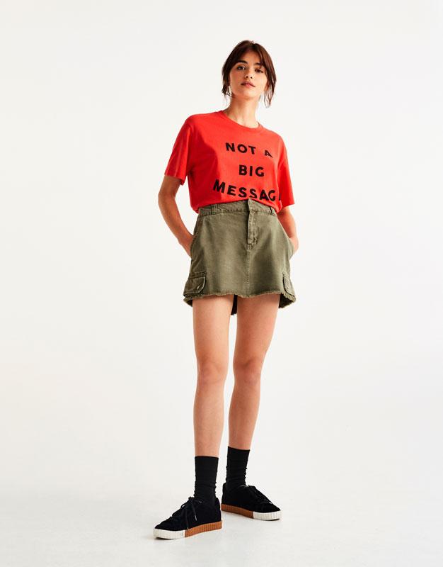 Minifalda cargo kaki
