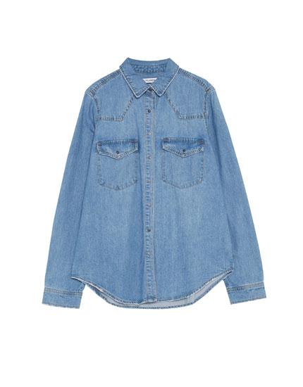 Loose fit denim shirt