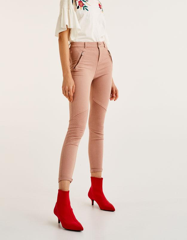 Mid-rise biker jeans