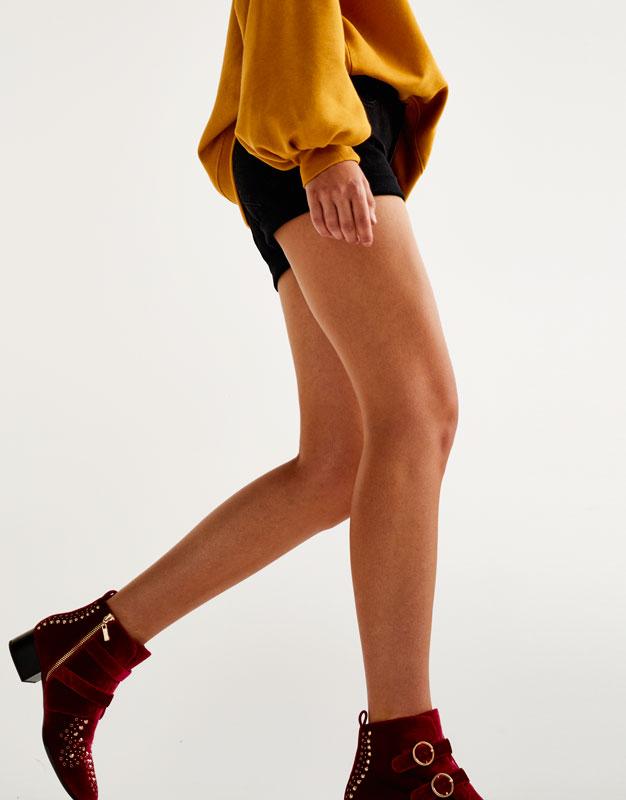 Shorts mit halbhohem Bund und Umschlag am Saum