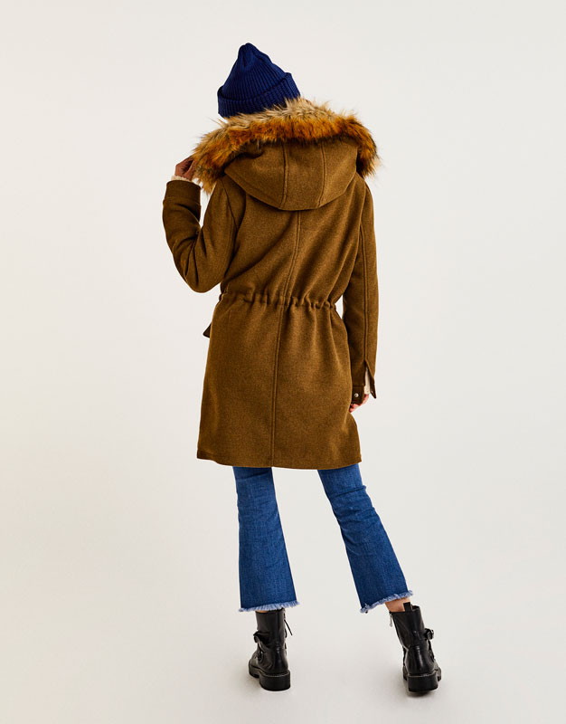 Furry hooded cloth parka