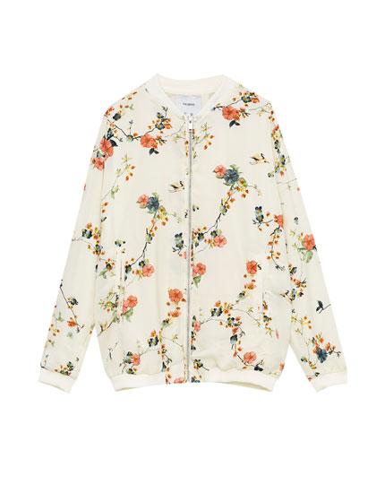 Flowing floral print bomber jacket