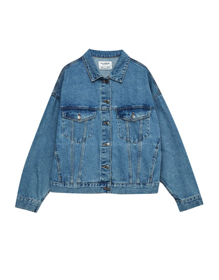 Oversized denim jacket with drop shoulders