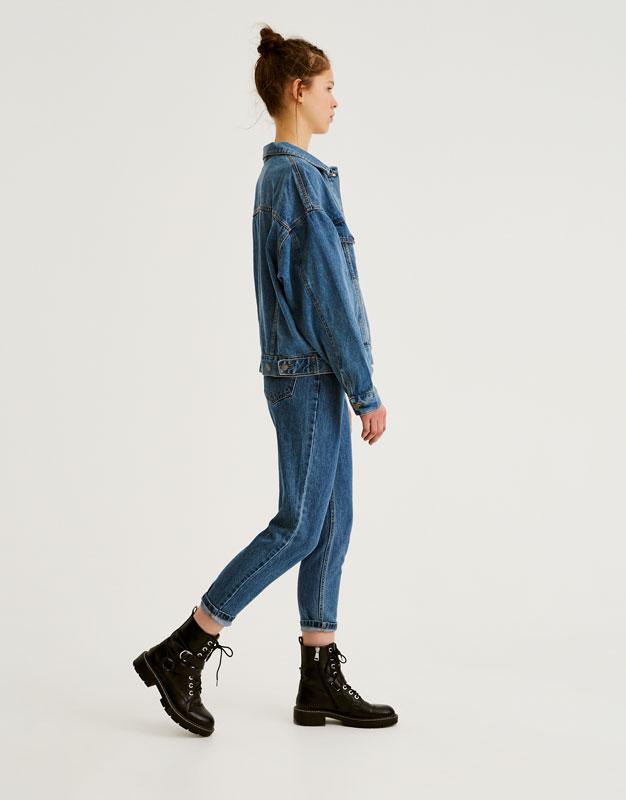 Oversized denim jacket with drop shoulders