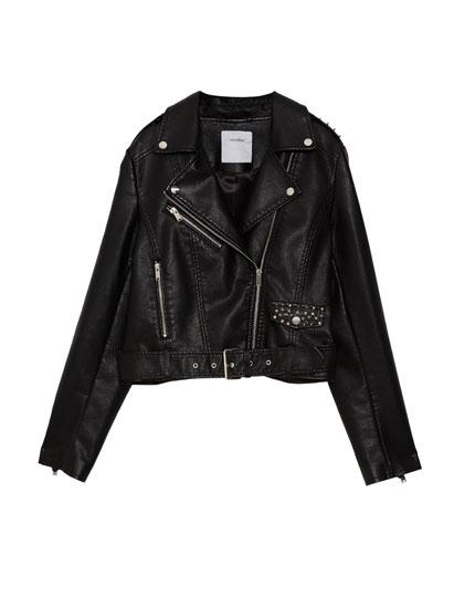 Biker jacket with studs