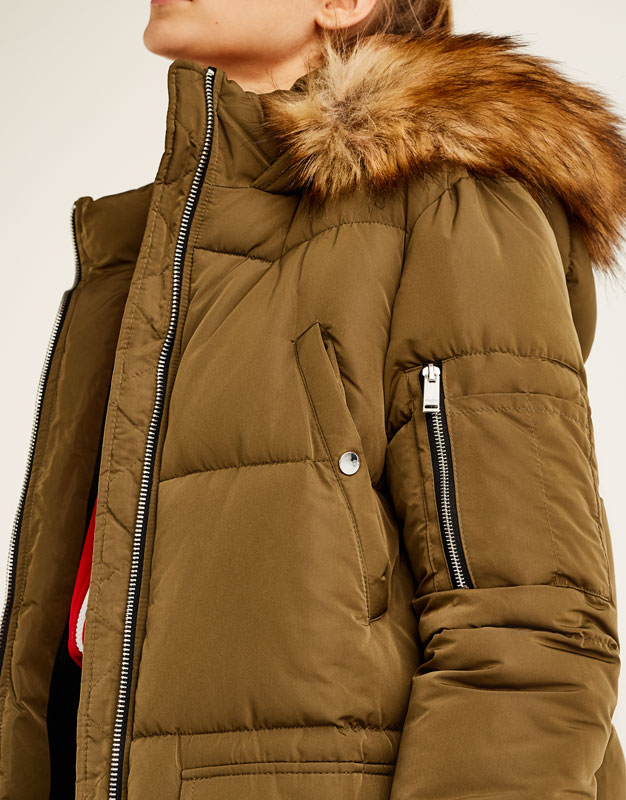 Quilted coat with faux fur hood