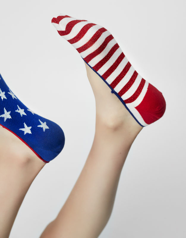 Pack of 2 pairs of USA shoeliner socks