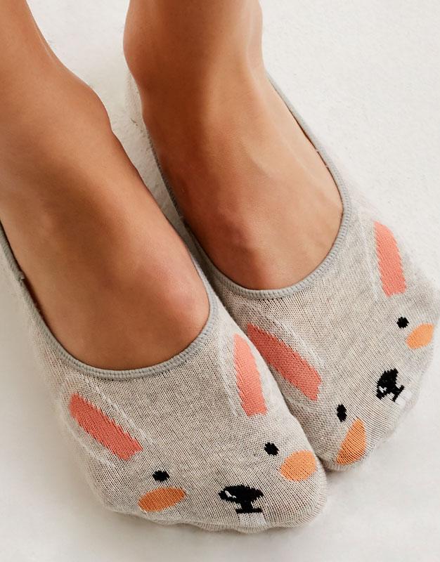 2-pack of rabbit print no show socks
