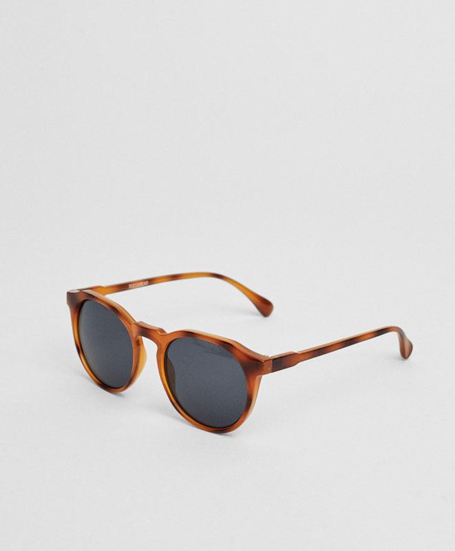 Round resin tortoiseshell sunglasses