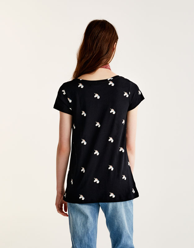 T-shirt with all over unicorn print