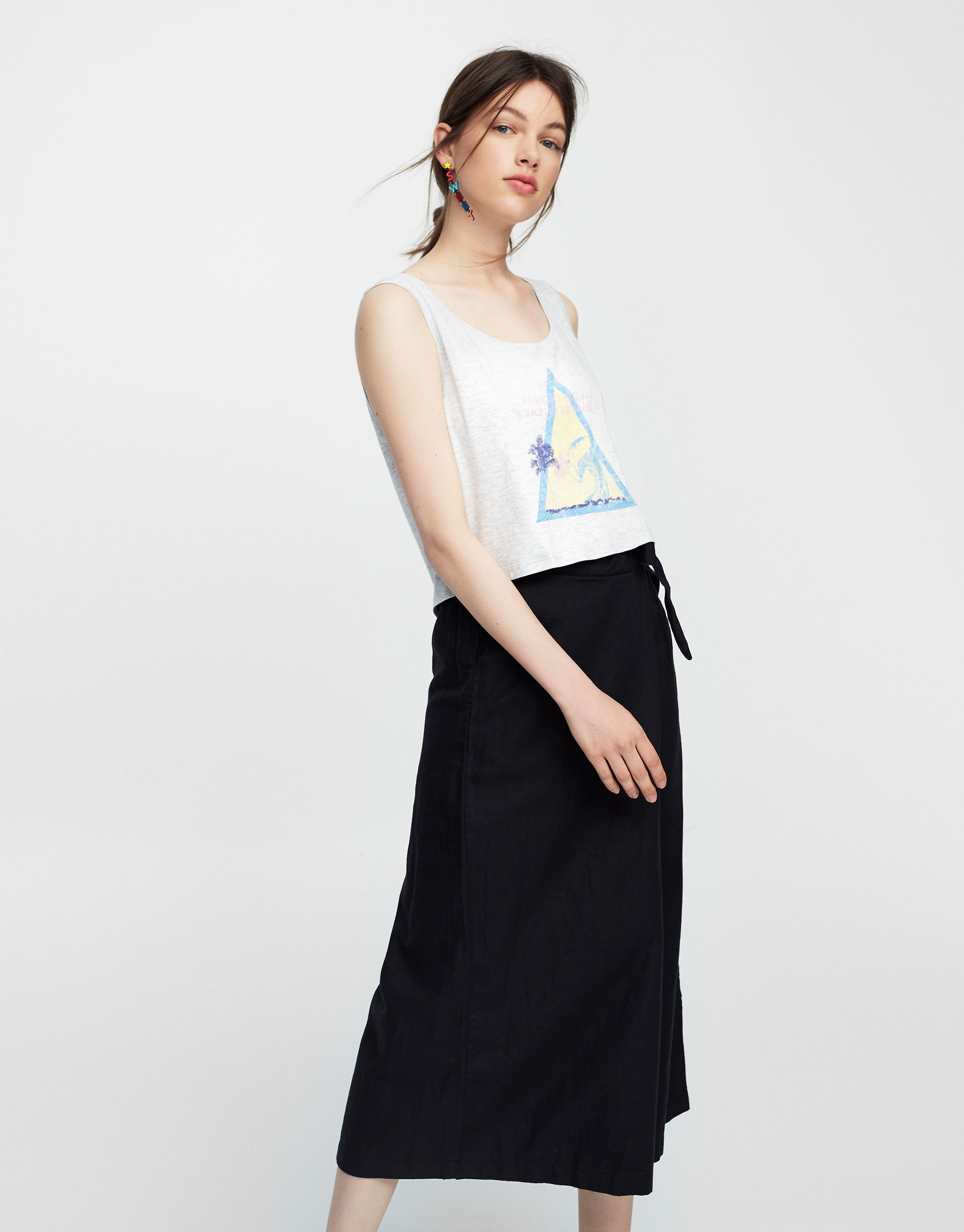 Crop top with wave graphic