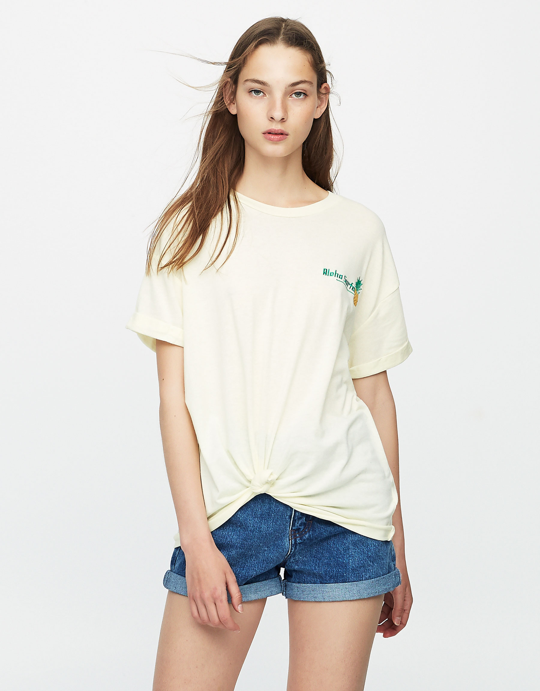 Embroidered pineapple T-shirt