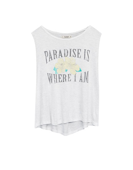 Sleeveless T-shirt with paradise print on the front