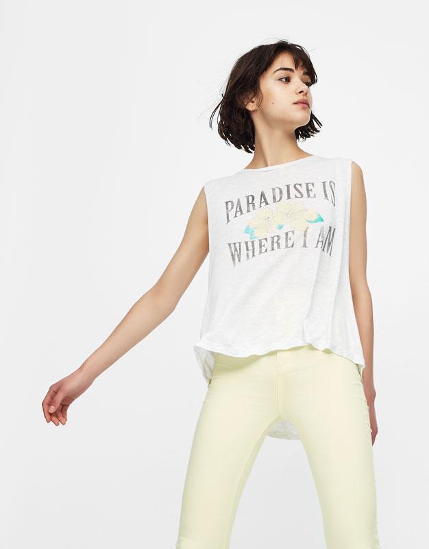 Samarreta màniga cisa estampat frontal paradise