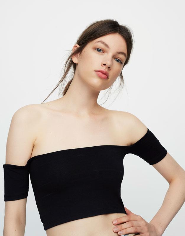 Bardot neckline crop top