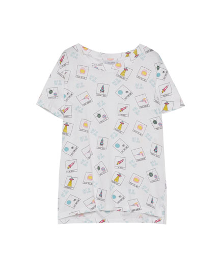 T-shirt with all over space print