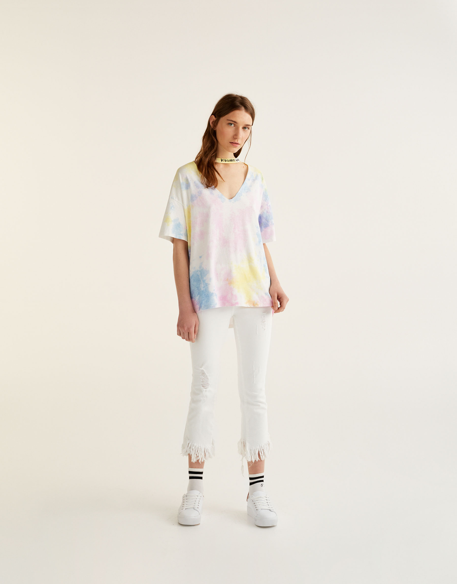 Tie dye T-shirt with choker neck