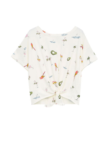 All-over tropical print T-shirt with front knot