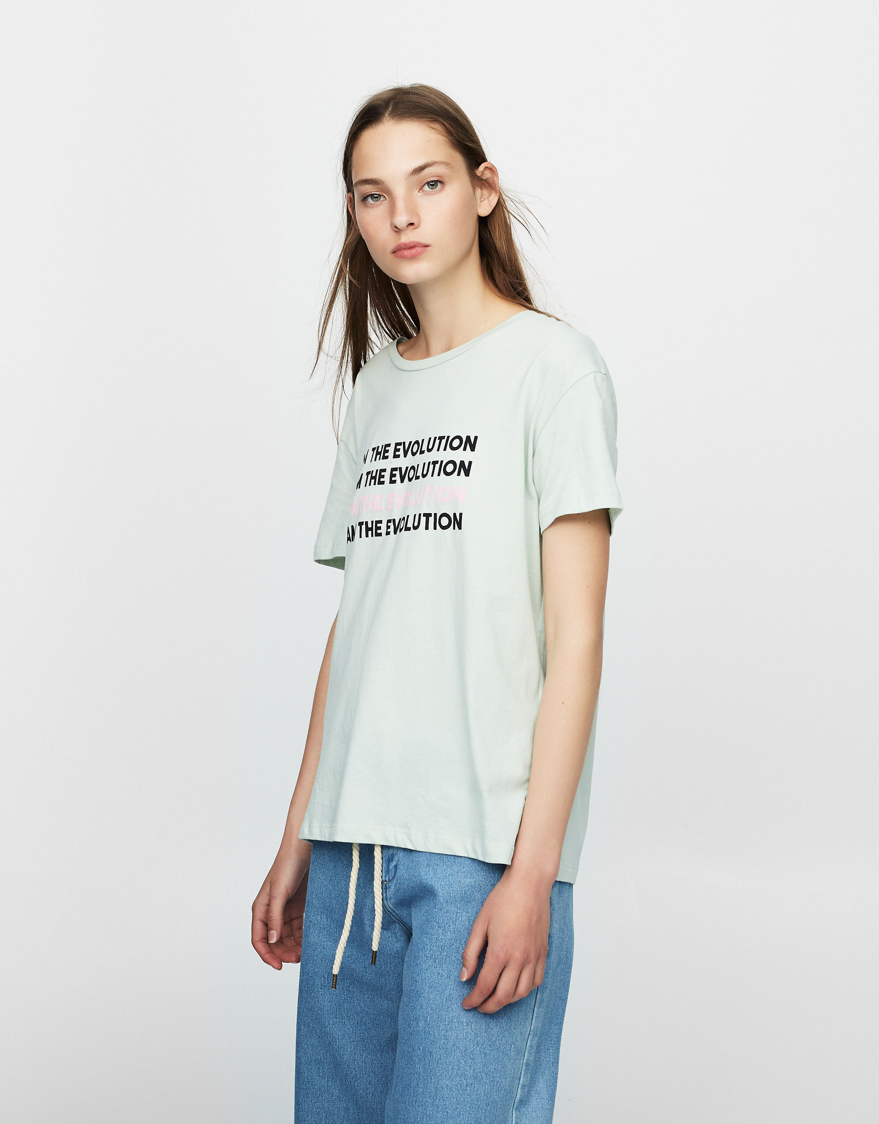 T-shirt with printed slogan