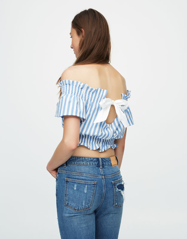 Striped crop top with back bow