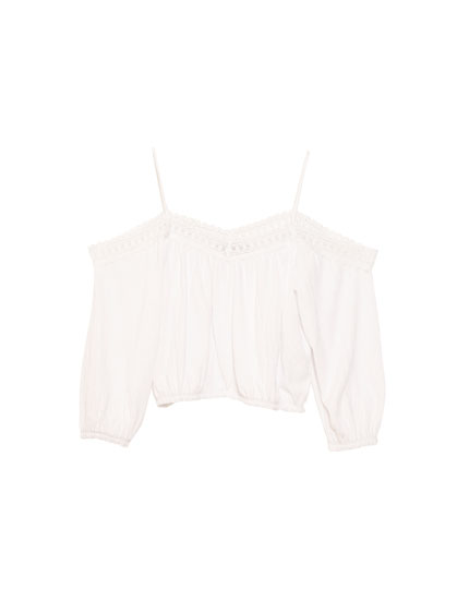 Top with bardot neckline and lace trim