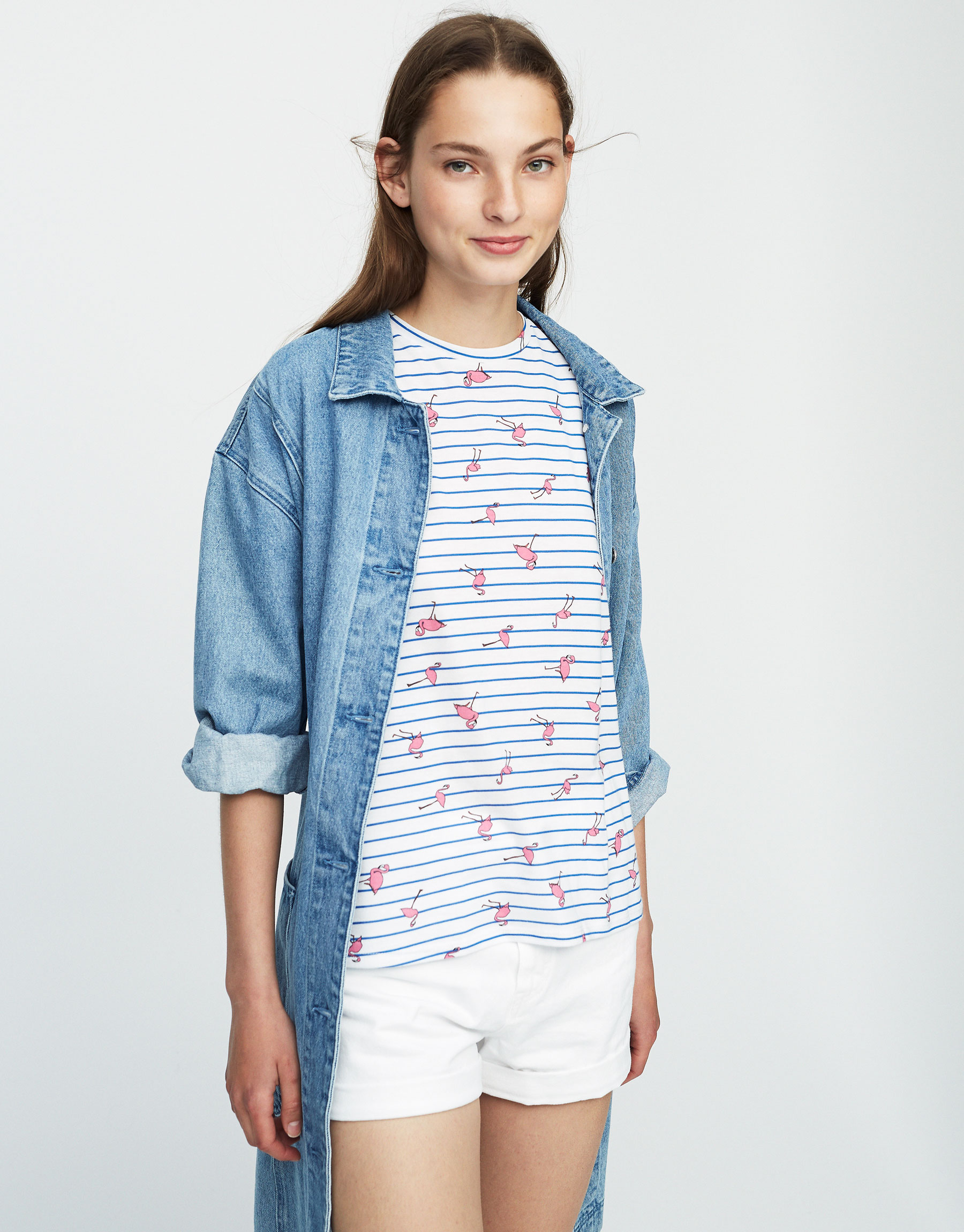 Striped T-shirt with all-over flamingo print