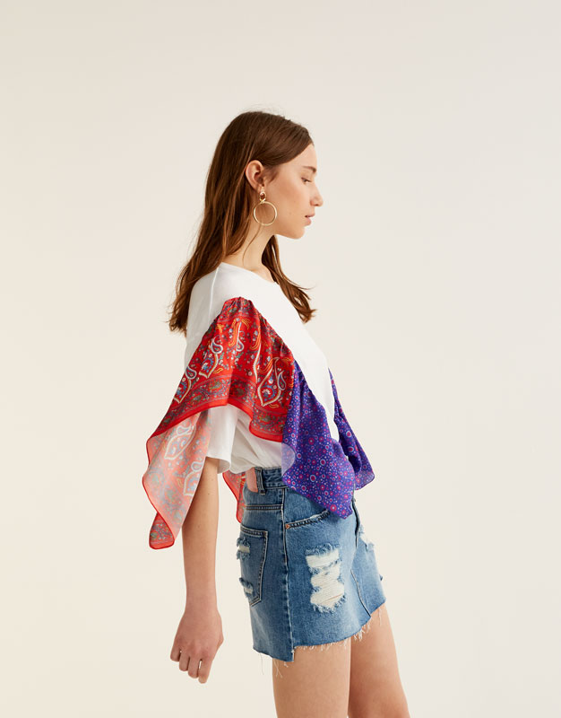 T-shirt with scarf ruffles