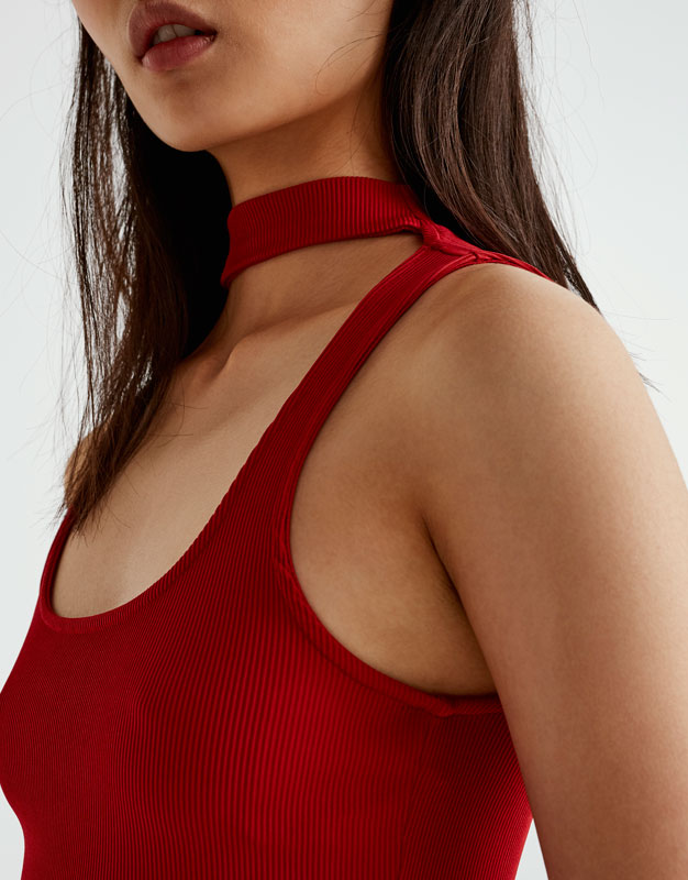 Choker top with square-cut neckline