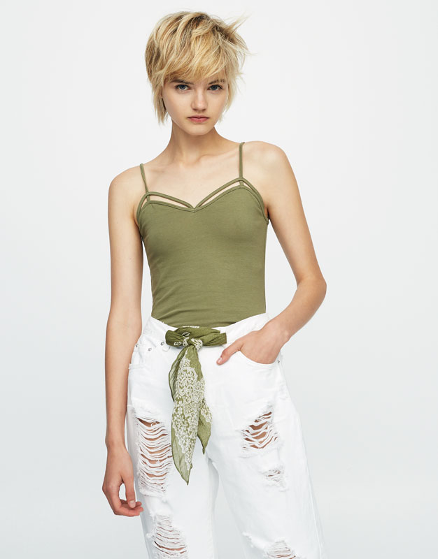Tank top with straps along neckline