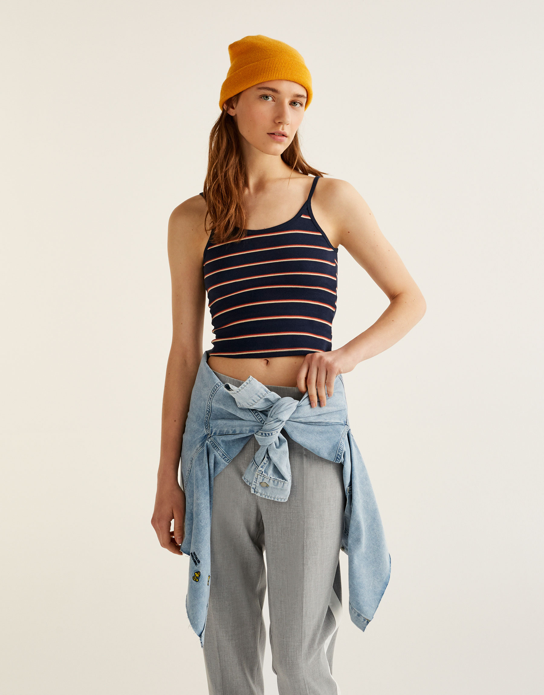 Top with thin straps and rainbow stripes