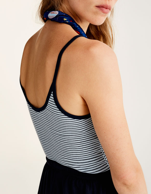 Striped top with thin straps