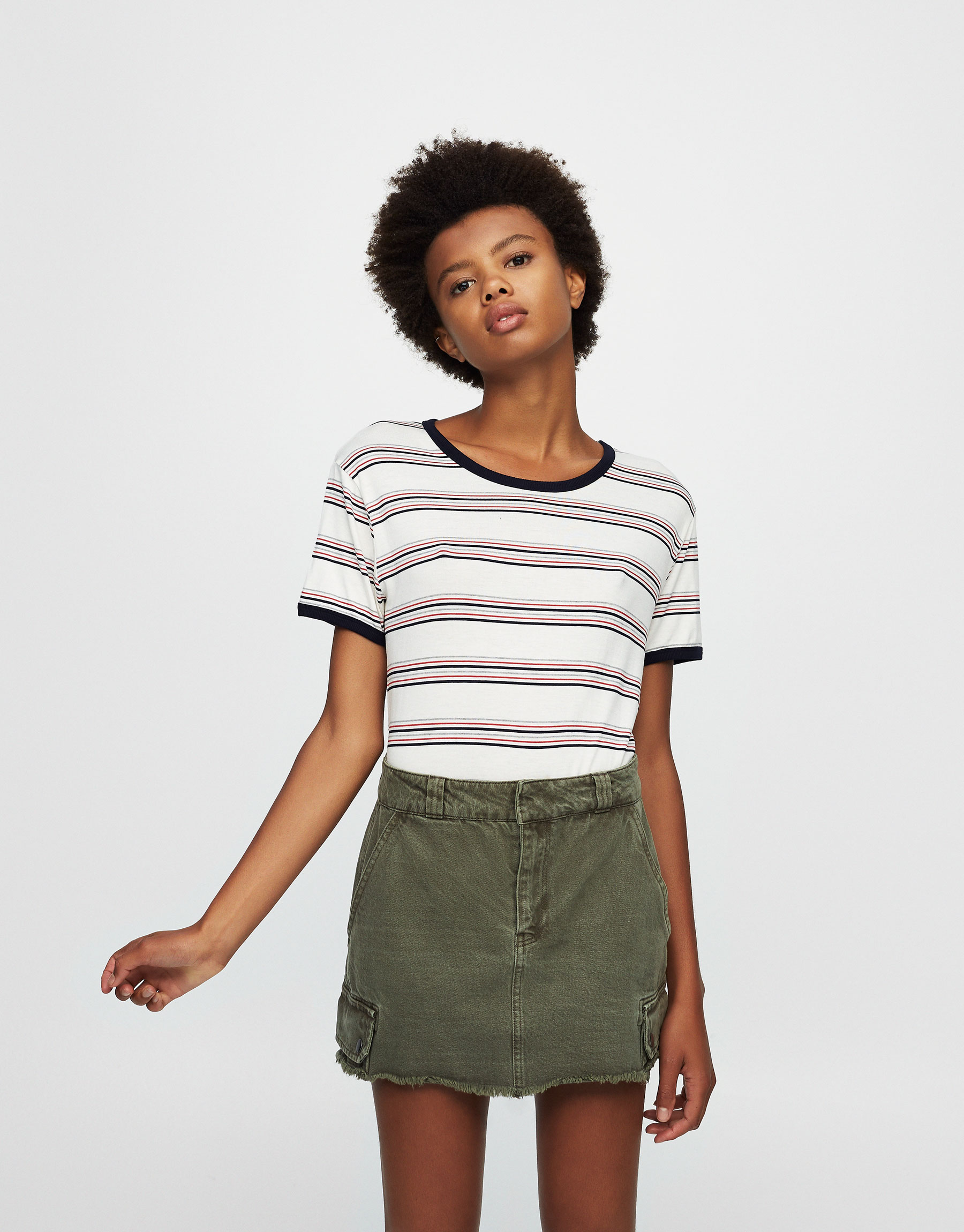 Striped T-shirt with contrasting piping