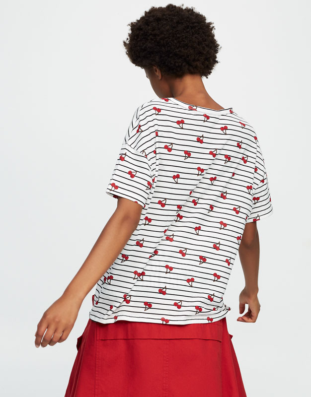 Striped T-shirt with all-over cherry print