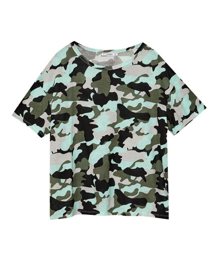 All over camouflage print T-shirt