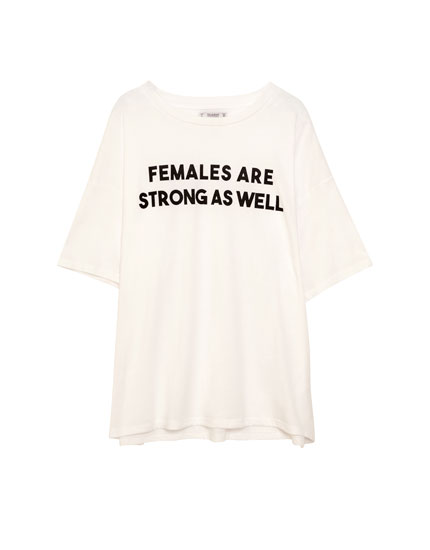 White women's T-shirt with slogan