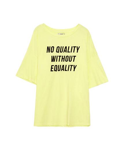 Yellow women's T-shirt with slogan