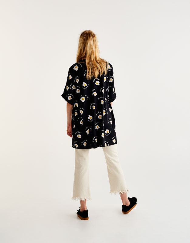 Oversized T-shirt with all over fried egg print
