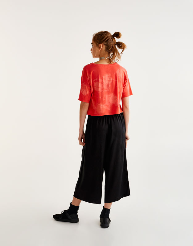 Bleached cropped T-shirt