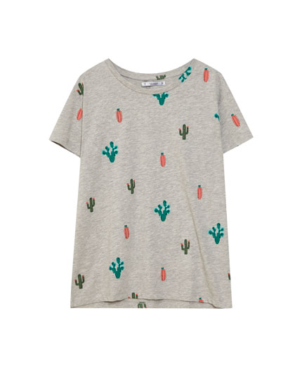 All-over cactus print T-shirt
