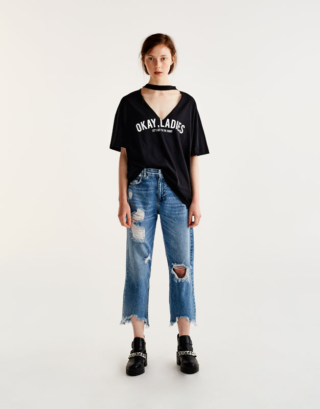 Oversized 'Okay Ladies' choker neck T-shirt