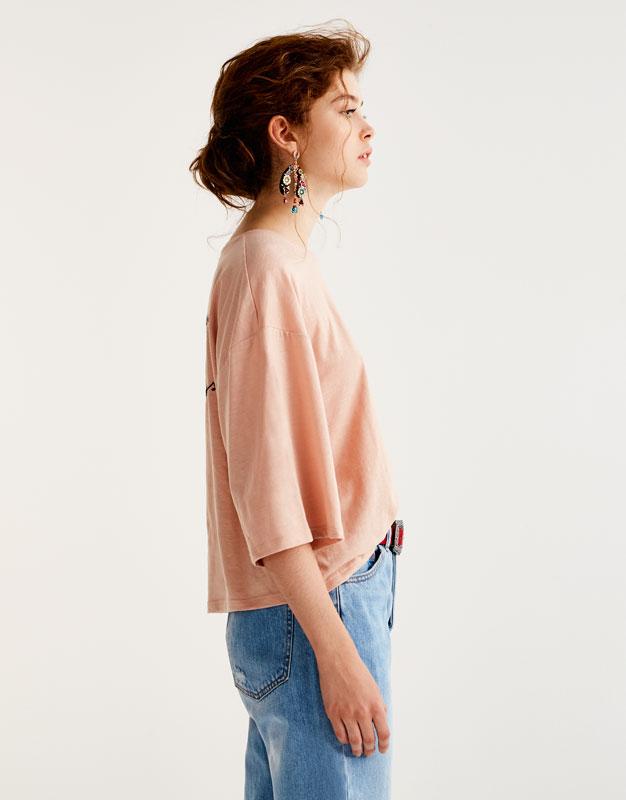 Camiseta bordado rosa
