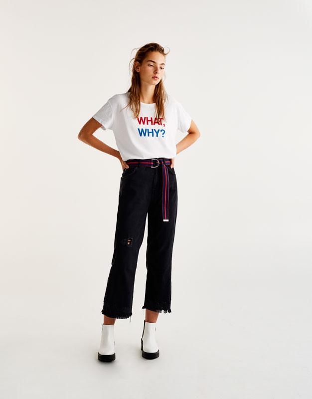 'What, why?' slogan T-shirt